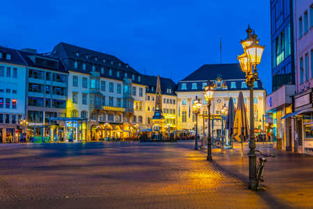 BONN, GERMANY, AUGUST 12, 2018: Night view of Marktplatz in the center of Bonn, Germany
