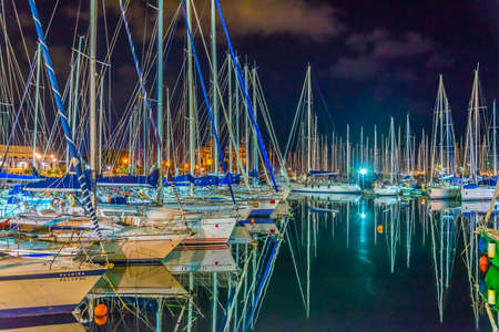 Night view of marina in Palermo