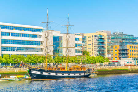 Jeanie Johnston ship mooring alongside river Liffey in Dublin, Ireland