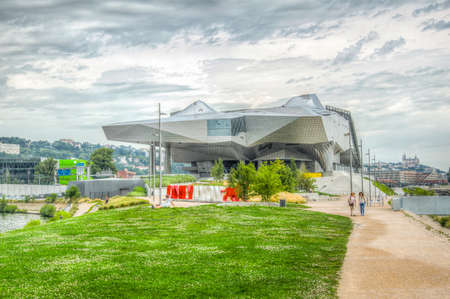 LYON, FRANCE, JULY 22, 2017: Musee des Confluences is a science and anthropology museum situated on confluence of Saone and Rhone rivers in Lyon, France