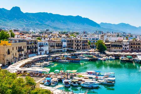 KYRENIA, CYPRUS, AUGUST 25, 2017: View of a port in Kyrenia/Girne during a sunny summer day, Cyprus Sajtókép