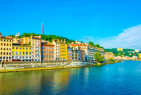 LYON, FRANCE, JULY 22, 2017: Riverside of Saone river in Lyon during a sunny summer day, France