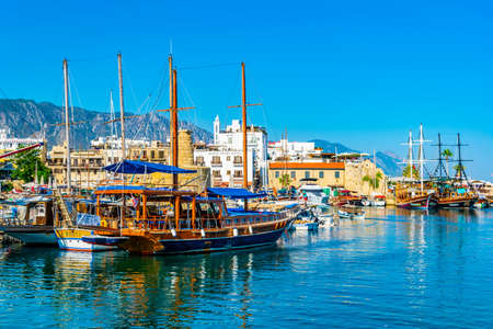 KYRENIA, CYPRUS, AUGUST 26, 2017: View of a port in KyreniaGirne during a sunny summer day, Cyprus