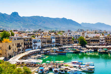 KYRENIA, CYPRUS, AUGUST 25, 2017: View of a port in Kyrenia/Girne during a sunny summer day, Cyprus