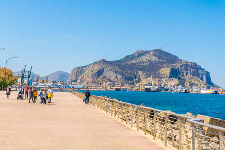 View of seaside of the sicilian city Palermo, Italy