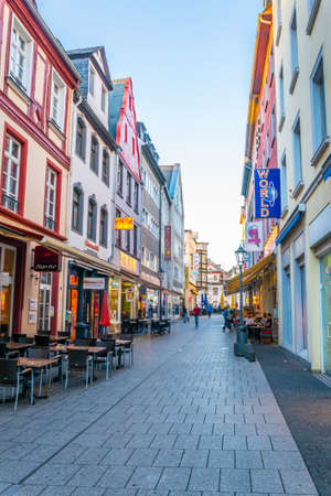 KOBLENZ, GERMANY, AUGUST 13, 2018: View of a narrow street in the center of Koblenz in Germany