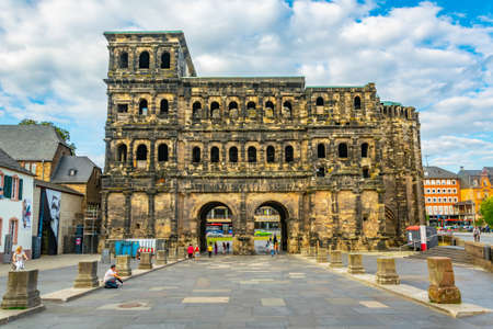 TRIER, GERMANY, AUGUST 14, 2018: View of famous Porta Negra in trier, Germany