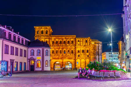 TRIER, GERMANY, AUGUST 14, 2018: Night view of Porta Negra in trier, Germany Editorial