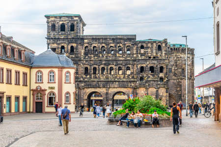 TRIER, GERMANY, AUGUST 14, 2018: Sunset view of Porta Negra in trier, Germany Editorial