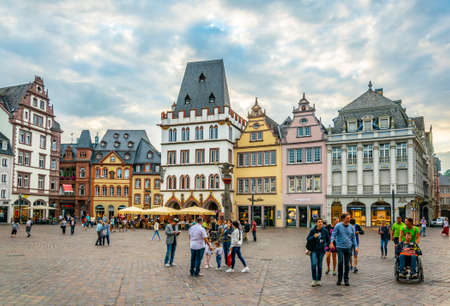 TRIER, GERMANY, AUGUST 14, 2018: Sunset view of Hauptmarkt square in trier, Germany Editorial
