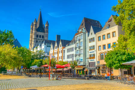 COLOGNE, GERMANY, AUGUST 11, 2018: Fischmarkt square and Saint martin church in cologne, Germany