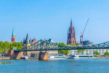 FRANKFURT, GERMANY, AUGUST 18, 2018: Historical museum, Imperial Cathedral of Saint Bartholomewand the old bridge in Frankfurt, Germany Editorial