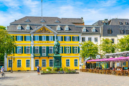 BONN, GERMANY, AUGUST 12, 2018: View of the Munsterplatz square in the center of Bonn, Germany