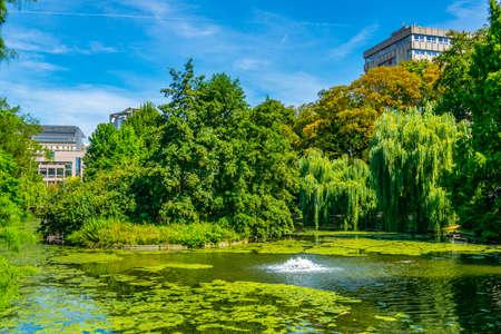 European parliament behind a lake at park Leopold, Brussels, Belgium