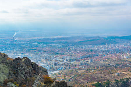 Aerial view of Sliven from Karandila peak, Bulgaria