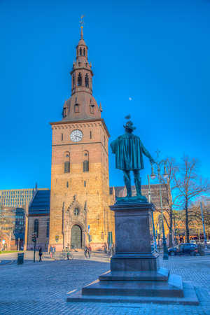 Cathedral and Christian IV statue in Oslo, Norway Stock fotó