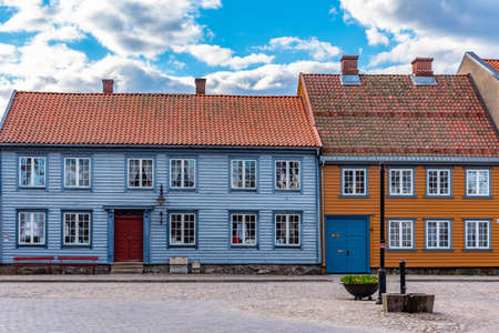 Typical wooden houses in the old town of Fredrikstad in Norway