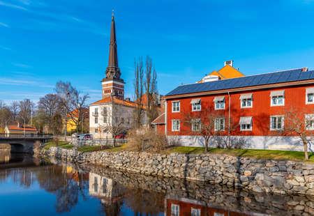 Gamla stan quarter and cathedral in Vasteras, Sweden 版權商用圖片