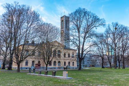 Town hall in Vasteras viewed behind Vasaparken, Sweden