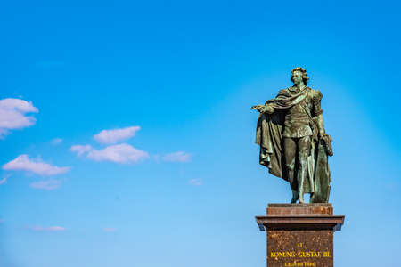 Statue of king Gustav III in the old town of Stockholm, Sweden