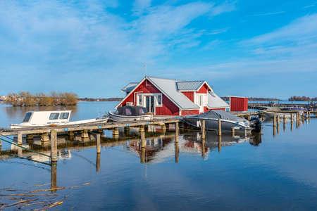 A fishing hut at lake Malaren in Vasteras, Sweden