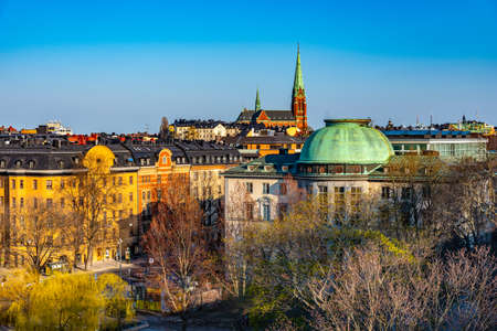 Aerial view of rooftops in Stockholm with Saint Clara church, Sweden Stock fotó