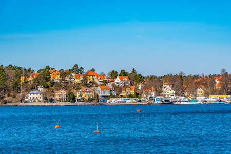 Small village on Lake Malaren near Stockholm in Sweden Stockfoto