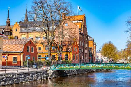 Notable buildings alongside river Fyris in Uppsala, Sweden Stock Photo