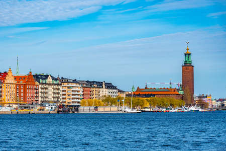 Waterfront of Stockholm with town hall at its end, Sweden