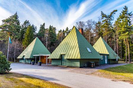 Visitors center at the Skogskyrkogarden, Unesco-listed cemetery, in Stockholm, Sweden