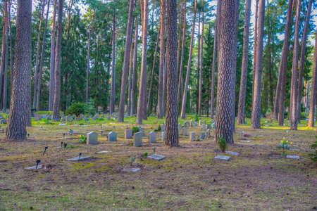 Tombstones at the Skogskyrkogarden, Unesco-listed cemetery, in Stockholm, Sweden Stock fotó