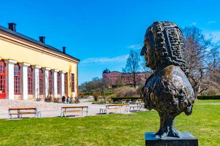 Statue of Carl Linnaeus in Botanical garden in Uppsala, Sweden