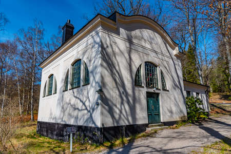 White house which used to serve as a studio to Swedish paintor Evert Lundquist