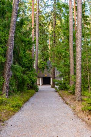 Skogskapellet cemetery chapel at the Skogskyrkogarden, Unesco-listed cemetery, in Stockholm, Sweden