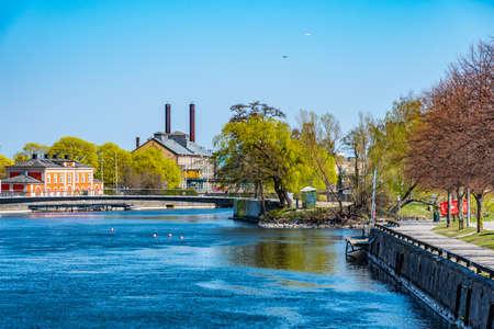Riverside of Motala strom river in Norrkoping, Sweden