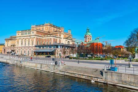 Swedish royal opera and Saint Jacob church in Stockholm, Sweden Stock fotó
