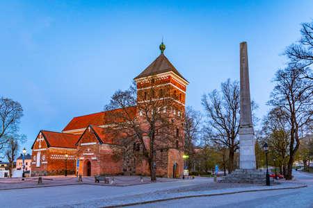 Sunset view of Helga Trefaldighets kyrka in Uppsala, Sweden