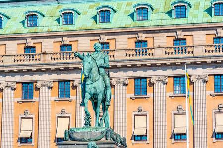 Statue of Swedish king Gustav II Adolf in Stockholm, Sweden