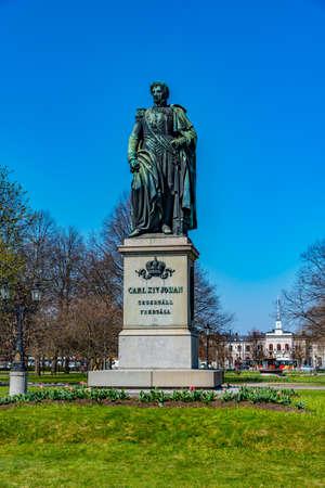 Statue of King Karl XIV Johan in Norrkoping, Sweden