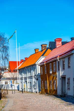 Traditional timber buildings in Gamla Stan quarter of Gavle, Sweden