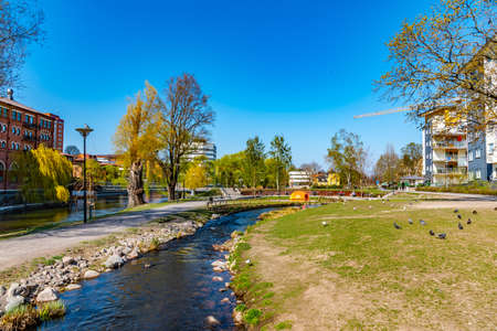channel enabling fishes to evade river rapids in Norrkoping, Sweden Stock fotó