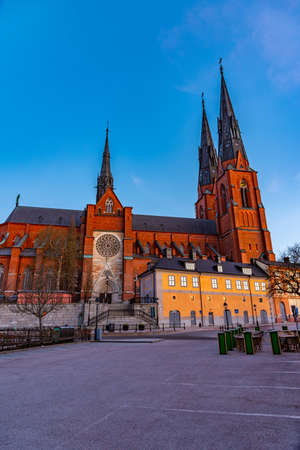 Sunset view of Uppsala cathedral in Sweden