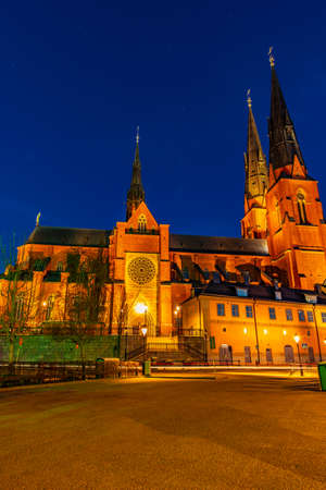 Sunset view of the cathedral in Uppsala, Sweden