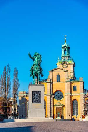 Statue of King Karl XIV Johan in front of Storkyrkan church in Stockholm, Sweden