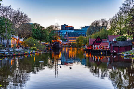 Restaurant in a form of a pirate ship at Tivoli gardens amusement park in Copenhagen, Denmark