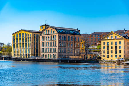Industrial buildings of formerly prospering textile industry are being revitalized in Norrkoping, Sweden 版權商用圖片 - 135256925