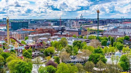 Aerial view of Tivoli amusement park in Copenhagen, Denmark.