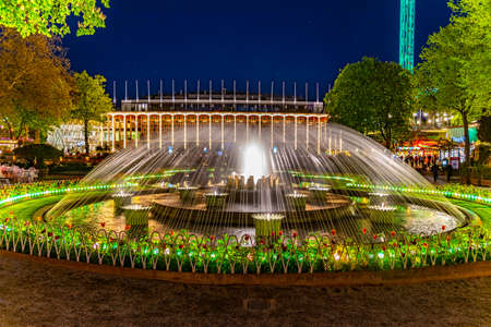 Night view of the Concert hall at Tivoli amusement park in Copenhagen,Denmark. Stock Photo