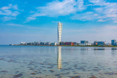 Skyline of Malmo with turning torso skyscraper, Sweden