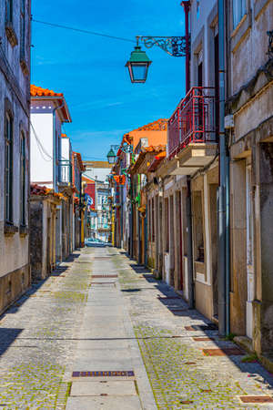 Narrow street in the historical center of Viana do Castelo in Portugal Stock Photo